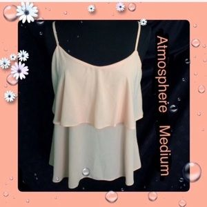 Atmosphere Peach Spaghetti Straps Sheer Top Medium